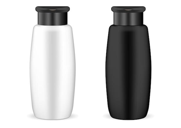 Zwart en wit shampoo cosmetische fles mockup set