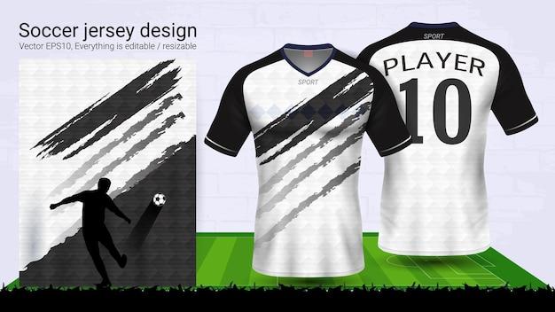 Zwart en wit t-shirt sport mockup sjabloon