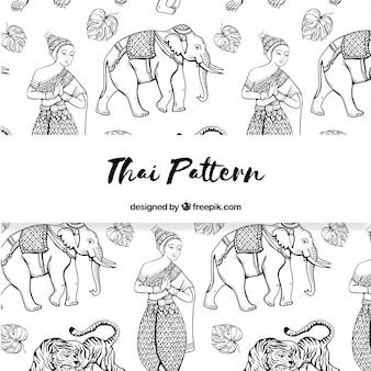 Zwart en wit thais patroon met elegante stijl