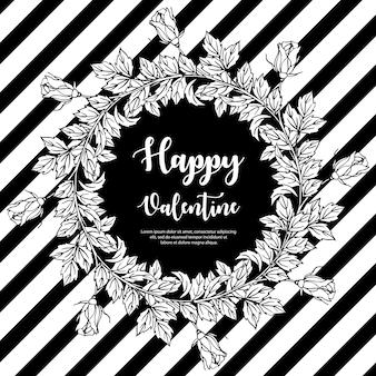 Zwart en wit valentine krans