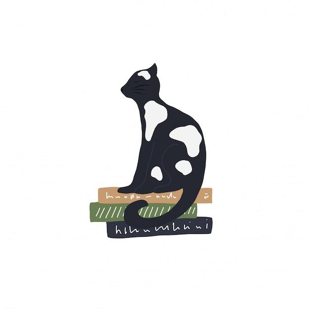 Zwart en wit vector kat op de boeken illustratie