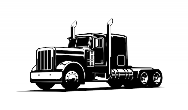 Zwart en wit vrachtwagen