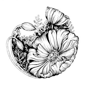 Zwart en witte bloem.