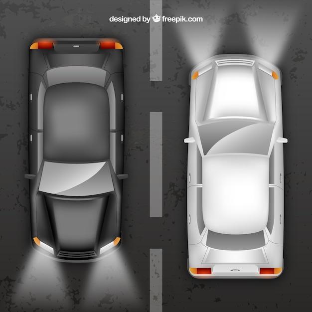 Zwart en zilver auto bovenaanzicht