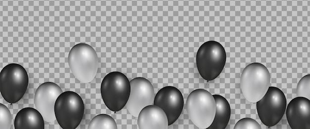Zwart en zilver realistische glanzende ballonnen voor black friday sale-banners