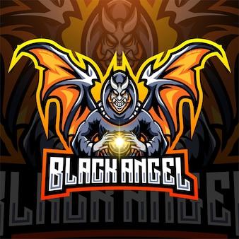 Zwart engel esport mascotte logo ontwerp