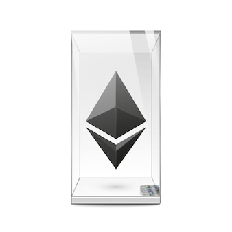 Zwart ethereum-logo in glazen vitrine. sjabloon