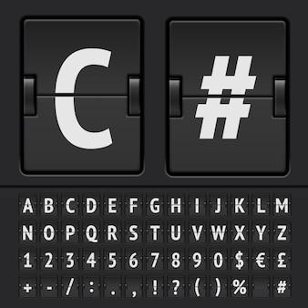 Zwart flip scorebord alfabet, cijfers.