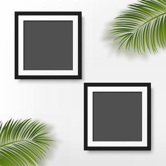 Zwart fotolijstje met palmbladeren op witte achtergrond. vector