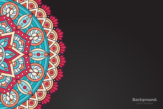 Zwart frame vector met abstracte oosterse mandala