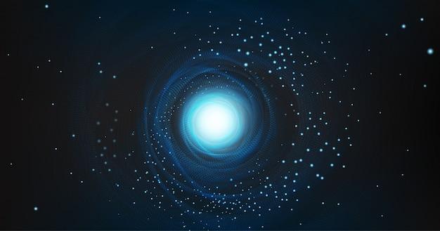 Zwart gat met spiraalvormig melkwegstelsel op kosmische achtergrond