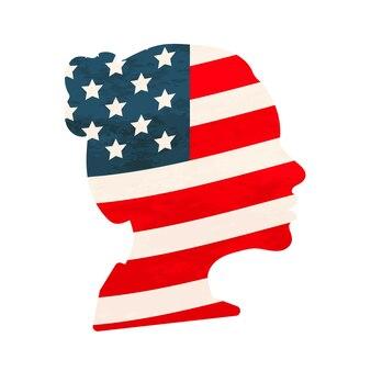 Zwart gedetailleerd realistisch damesgezichtsprofiel met de vlag van de v.s. op wit wordt geïsoleerd