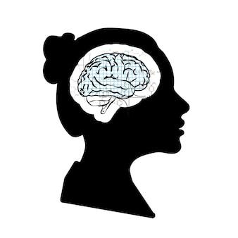 Zwart gedetailleerd vrouwengezichtsprofiel met wiskunde technisch brein dat op wit wordt geïsoleerd