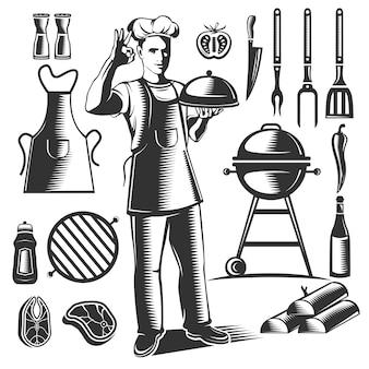 Zwart geïsoleerde vintage bbq-element set met chef-koks figuur en zijn gerechten