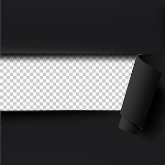 Zwart gescheurd papier achtergrond met lege ruimte voor tekst.