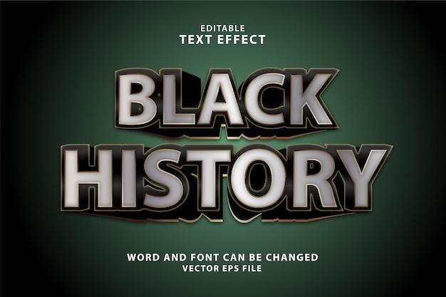 Zwart geschiedenis goud 3d bewerkbaar teksteffect