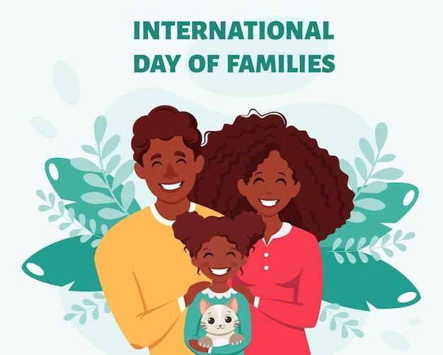 Zwart gezin met dochter en kat internationale dag van het gezin