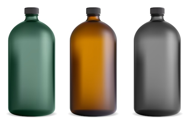 Zwart glazen fles. medische sirooppot. farmaceutische vitaminecontainer. bruine chemische sjabloon met schroefdop vintage design doorschijnende flacon. cosmetische shampoo, kuuroordsap