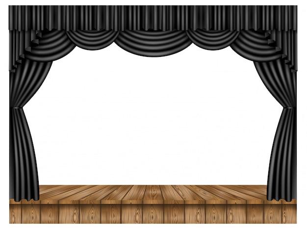 Zwart gordijn en houten podium
