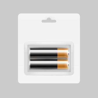 Zwart gouden glanzende alkaline aa-batterijen in transparante blisterverpakking voor branding