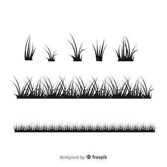 Zwart gras rand silhouetten collectie