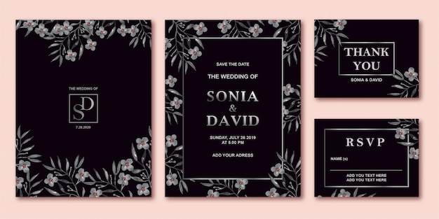 Zwart grijs bruiloft uitnodigingskaart sjabloon set