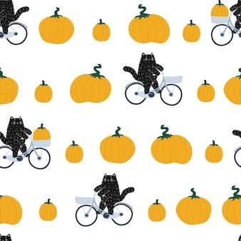Zwart halloween-pompoenkat naadloos patroon oogstfeestpatroon een schattig dier op de fiets
