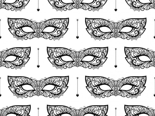 Zwart kantmasker naadloos patroon