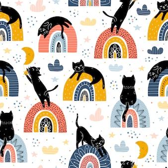 Zwart katten en regenbogenfantasie naadloos patroon. scandinavische stijl