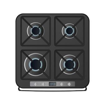 Zwart keukenfornuis met bovenaanzicht. inclusief gasfornuis. moderne oven voor de keuken in een realistische stijl. geïsoleerd. vector.