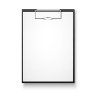Zwart klembord met leeg wit blad.