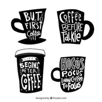 Zwart koffieontwerp met letters