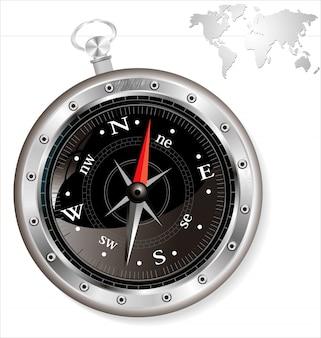 Zwart kompas dat op witte vectorillustratie wordt geïsoleerd als achtergrond