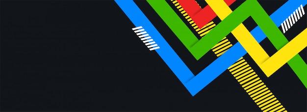 Zwart kopbal of bannerontwerp met kleurrijke abstracte elementen