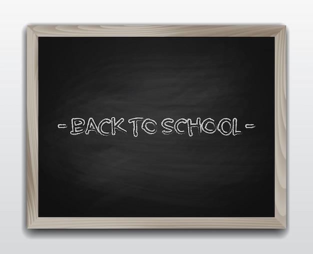 Zwart krijtbord in houten frame. terug naar schoolachtergrond