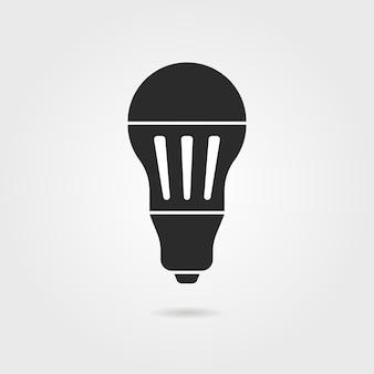 Zwart led-lamppictogram met schaduw. concept van halogeen, uitvinding, helderheid, verlichten, energiebesparing. geïsoleerd op een grijze achtergrond. vlakke stijl trend moderne logo ontwerp vectorillustratie