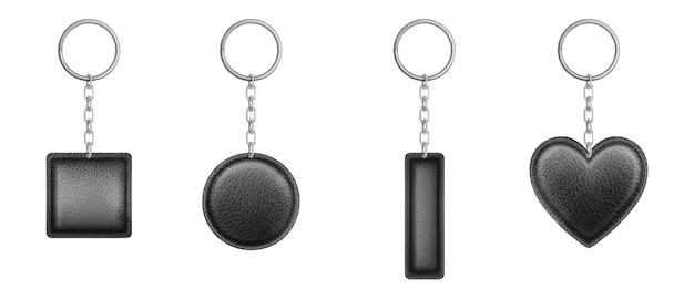 Zwart lederen sleutelhanger in verschillende vormen met metalen ketting en ring.