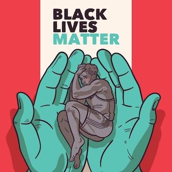 Zwart leven is belangrijk illustratieontwerp