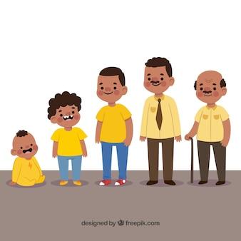 Zwart man karakter in verschillende leeftijden