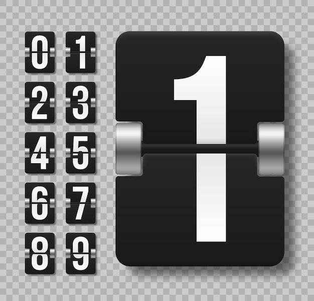 Zwart mechanisch scorebord met verschillende nummers