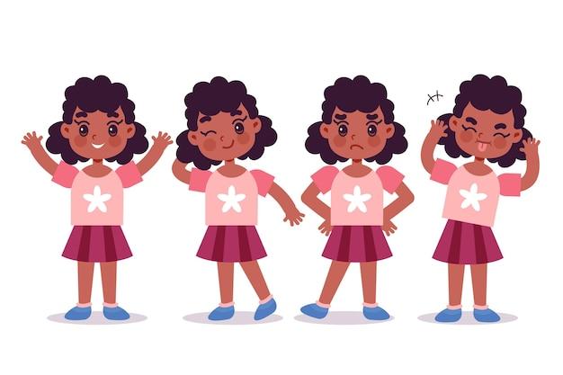 Zwart meisje in verschillende poses hand getrokken