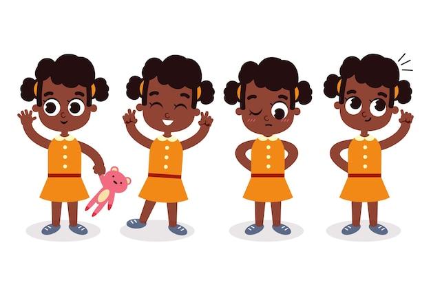 Zwart meisje in verschillende poses illustraties