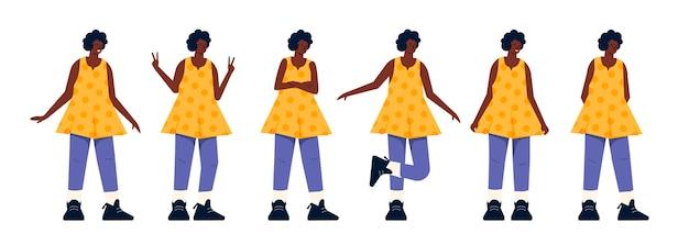 Zwart meisje in verschillende poses plat ontwerp