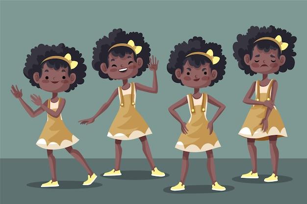 Zwart meisje in verschillende poses set