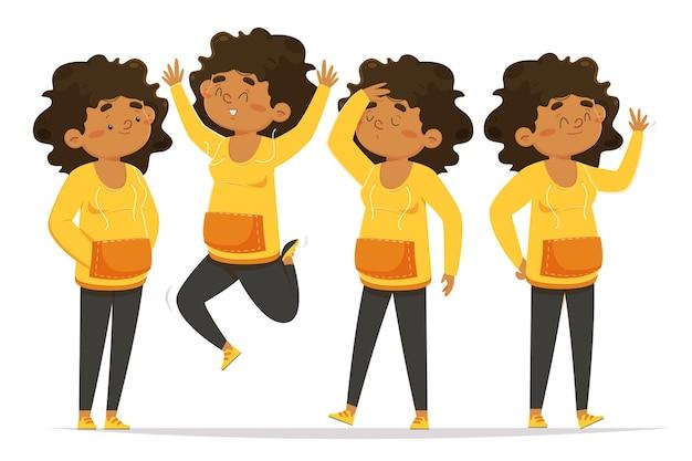 Zwart meisje in verschillende poses