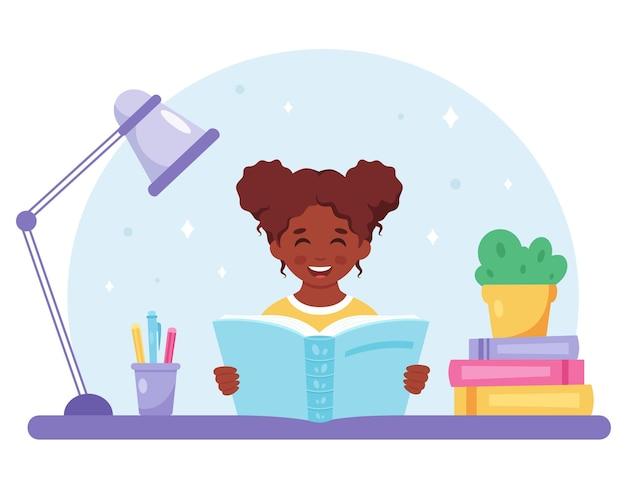 Zwart meisje leesboek meisje studeert met een boek