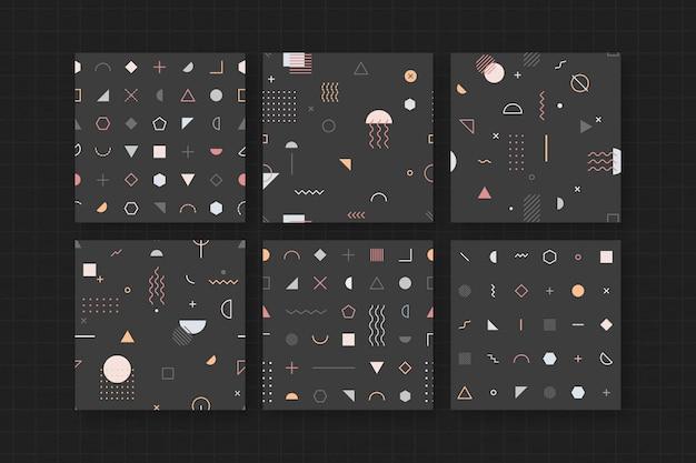 Zwart memphis patroon behang set