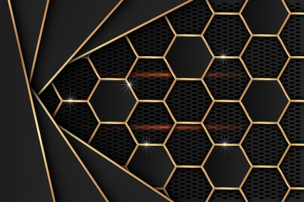 Zwart metaalblad met gouden randen op het zwarte netwerk als achtergrond.