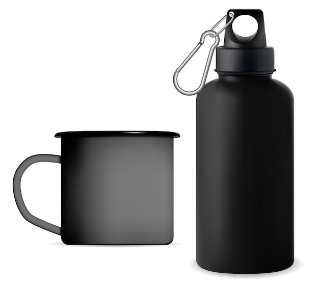 Zwart metalen sport bidon herbruikbare campingbeker