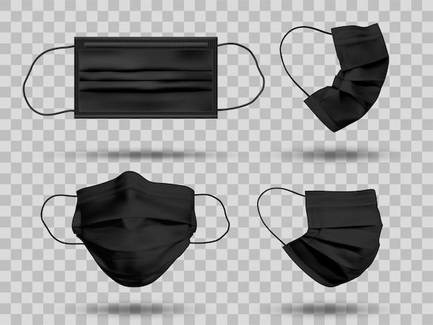 Zwart mockup beschermend gezichtsmasker of medisch masker. om coronavirus en infectie te beschermen. medische masker set geïsoleerd op transparante achtergrond. realistische afbeelding